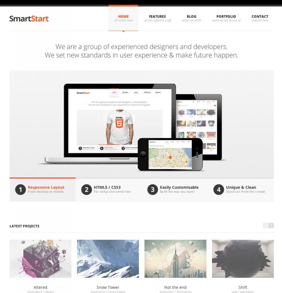 Plantilla Smartstart. Limpia y sencilla para mostrar fotos